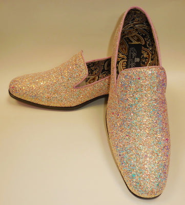 Mens Light Baby Pink Glitter Formal Slip On Dress Loafers After Midnight 6683 S
