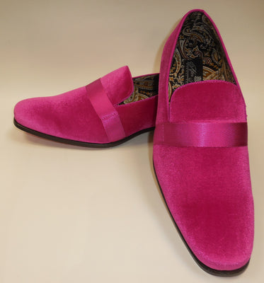 Mens Hot Pink Fuschia Velvet Dressy Slip On Loafers After Midnight 6660