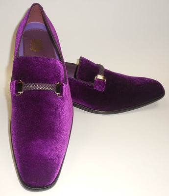Mens Purple Velvet Slip On Dress Loafers w/ Braided Detail After Midnight 6753