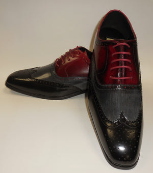 Mens Black Gray Oxblood Burgundy Wingtip Fashion Dress Shoes Antonio Cerrelli 6781