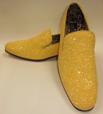 Mens Yellow Glitter Formal Slip On Dress Loafers After Midnight 6683 S