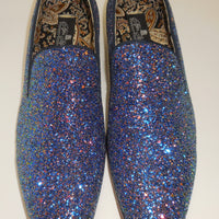 Mens Awesome Royal Blue Glitter Formal Slip On Dress Loafers After Midnight 6683 S