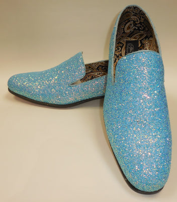 Mens Light Blue Glitter Formal Slip On Dress Loafers After Midnight 6683 S