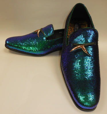 Mens Amazing Green Purple Color Change Sequin Dress Loafers After Midnight 6759