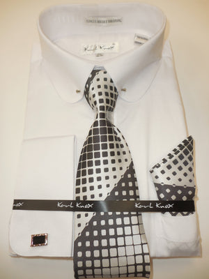 Mens All White Round Collar + Collar Bar French Cuff Dress Shirt Karl Knox 4404