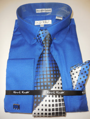 Mens Bright Royal Blue Round Collar + Collar Bar French Cuff Dress Shirt Karl Knox 4404