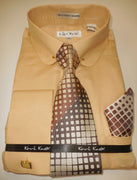 Mens Khaki Beige Tan Round Collar + Collar Bar French Cuff Dress Shirt Karl Knox 4404