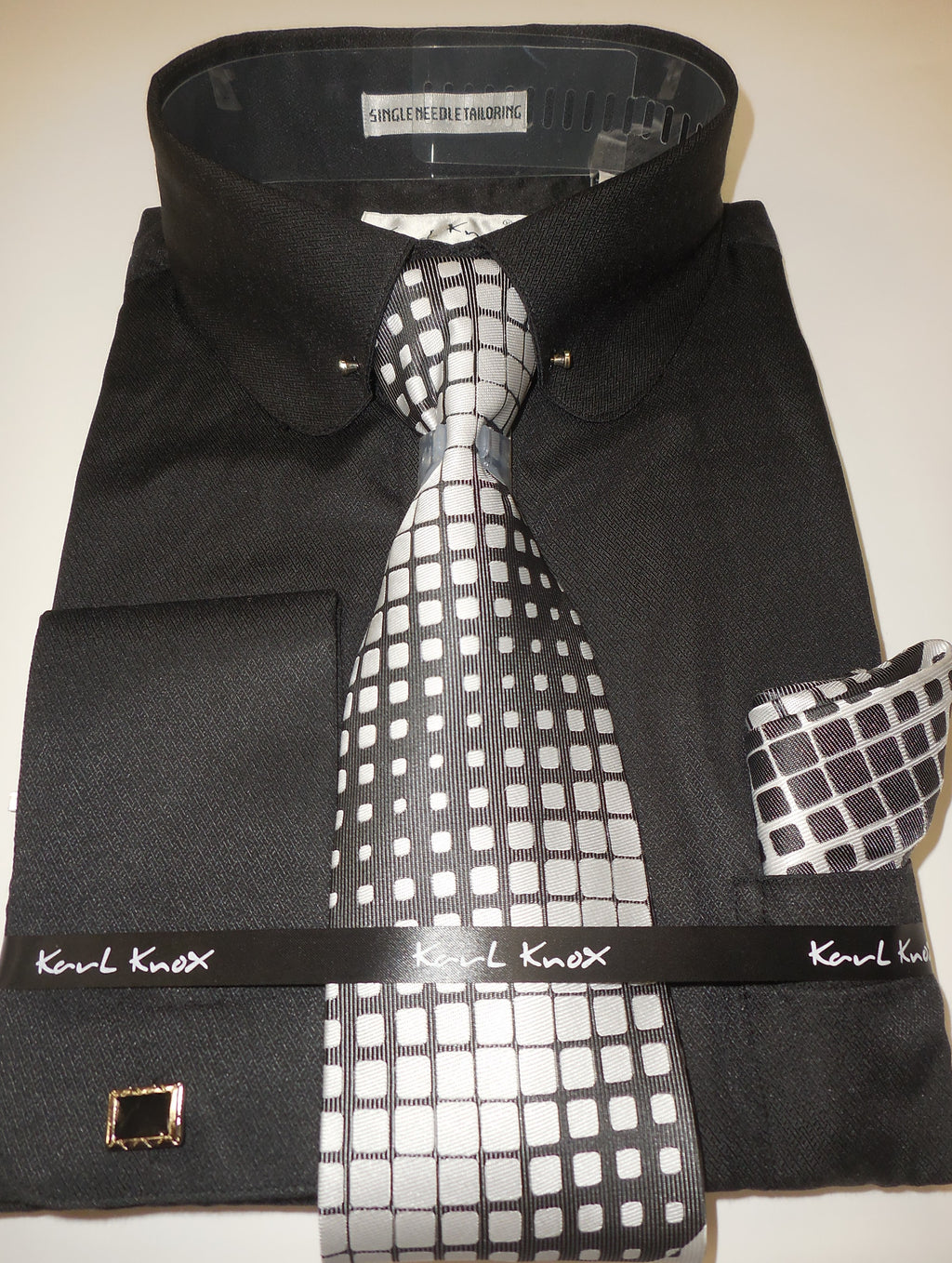 Mens All Black Round Collar + Collar Bar French Cuff Dress Shirt Karl Knox 4404