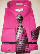 Mens Hot Pink Fuschia Round Collar + Collar Bar French Cuff Dress Shirt Karl Knox 4404