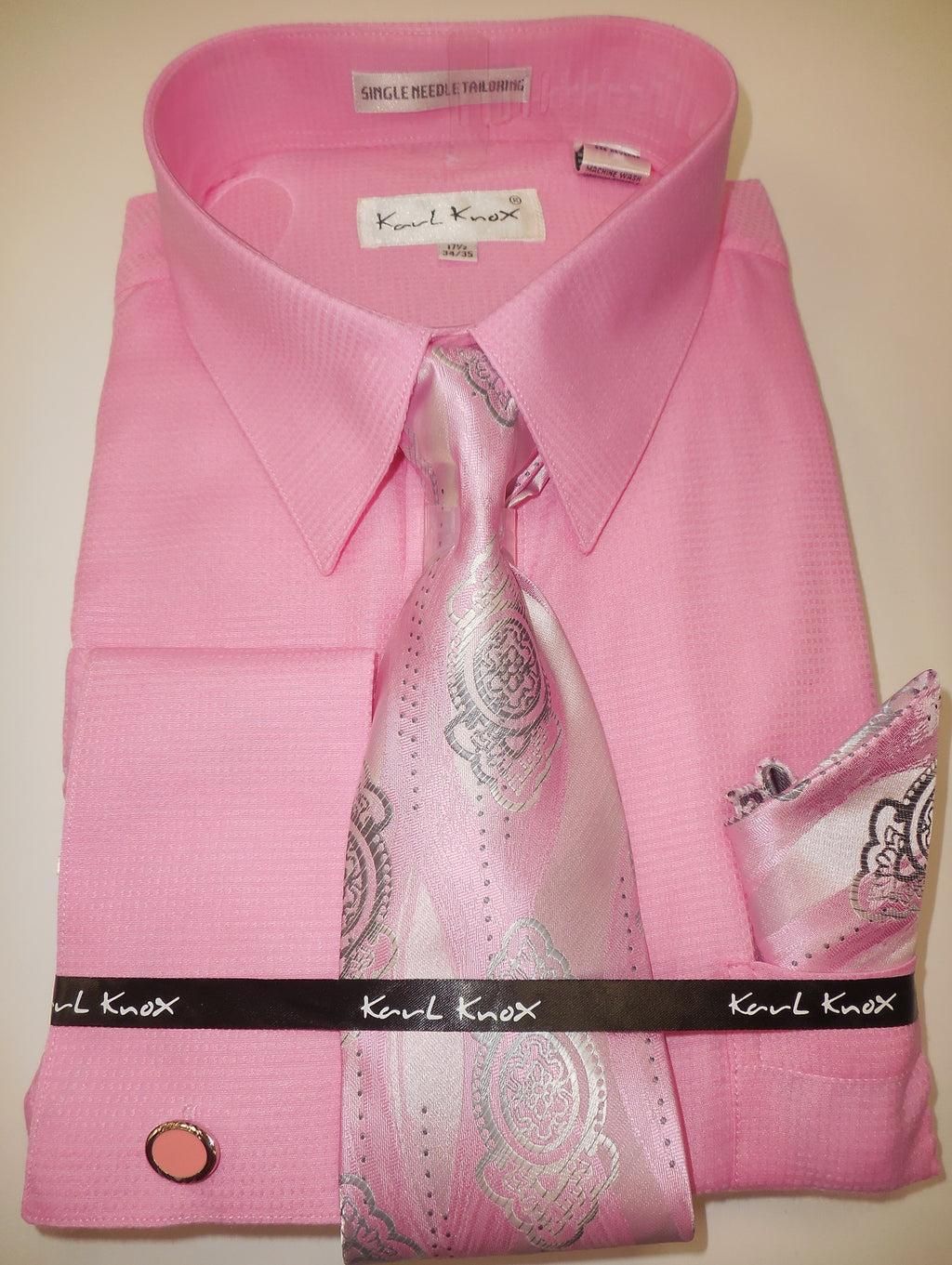 Mens Baby Pink Pointed Collar French Cuff Dress Shirt + Tie Set Karl Knox 4402 S