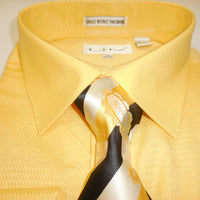 Mens Lemon Yellow French Cuff Dress Shirt + Amazing Tie Set Karl Knox 4405 S