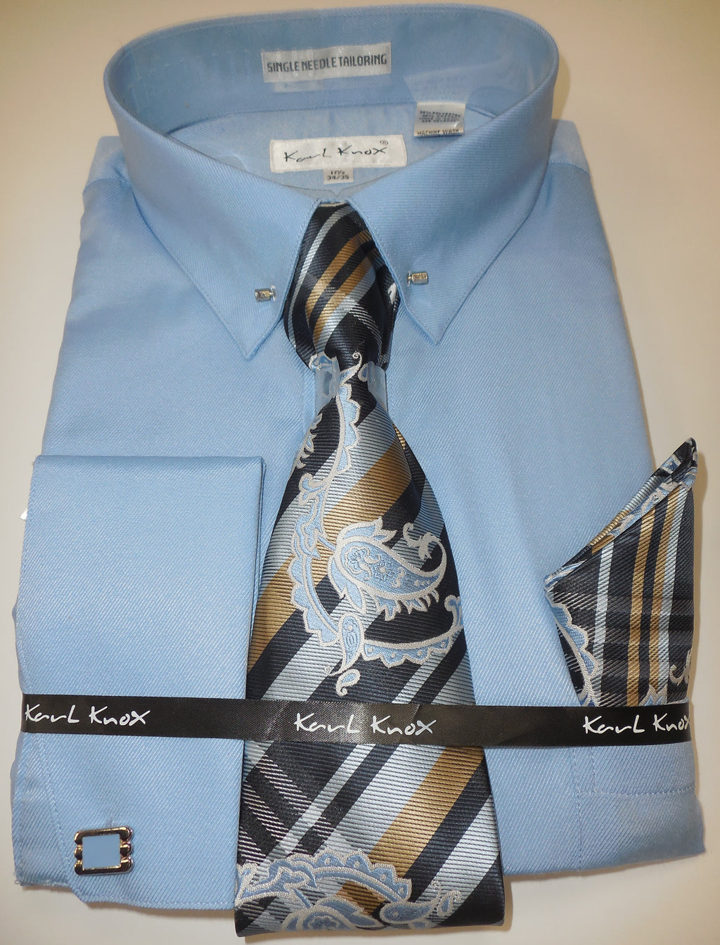 Mens Baby Blue, Light Blue Eyelet Pin Collar Bar French Cuff Dress Shirt Tie Set Karl Knox 4401