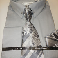 Mens Silver Grey Gray Eyelet Pin Collar Bar French Cuff Dress Shirt Tie Set Karl Knox 4401