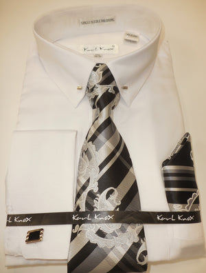 Mens White Eyelet Pin Collar Bar French Cuff Dress Shirt Tie Set Karl Knox 4401 S