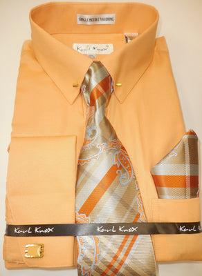 Mens Peach Eyelet Pin Collar Bar French Cuff Dress Shirt Tie Set Karl Knox 4401