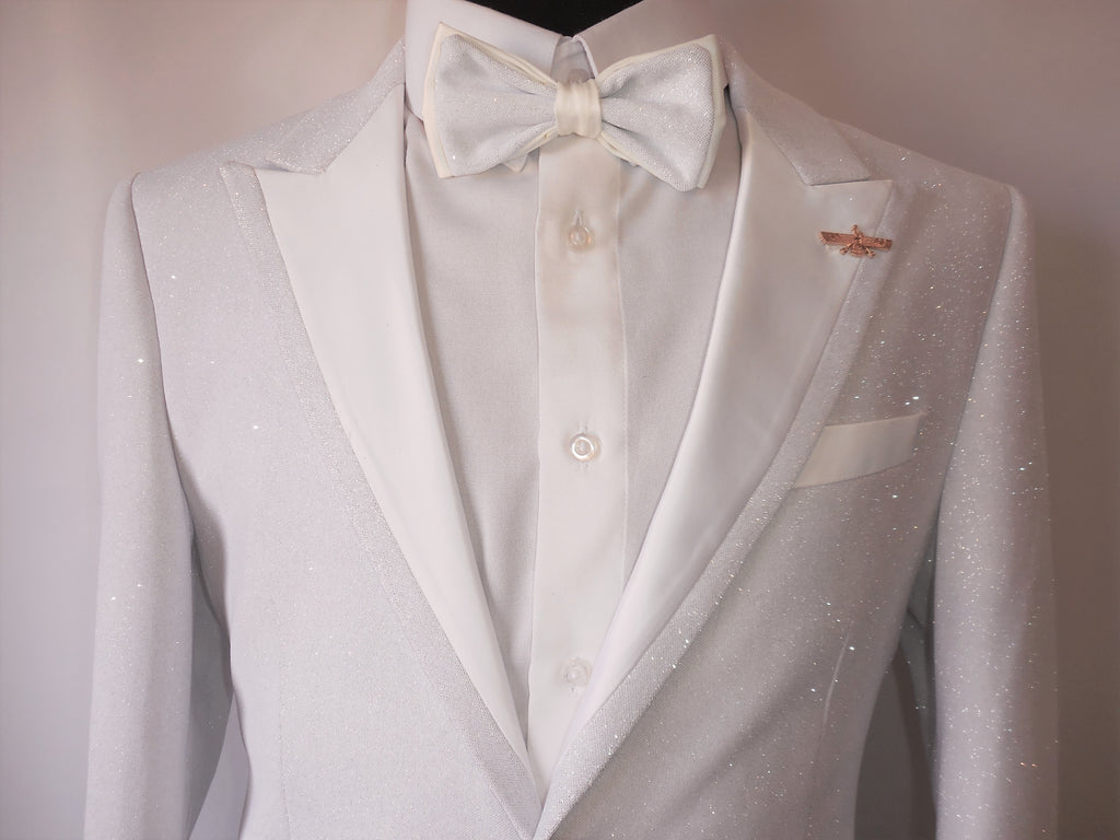 c72f336a Mens Sparkly White Formal Tuxedo Slim Fit Jacket Bow Tie Included Barabas  R7001