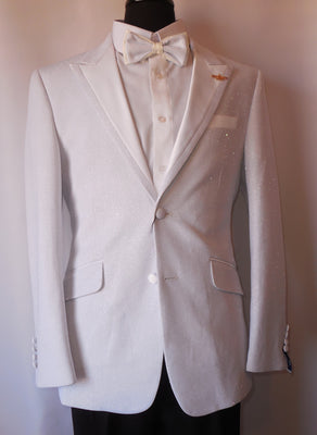 Mens Sparkly White Formal Tuxedo Slim Fit Jacket Bow Tie Included Barabas R7001