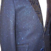 Mens Sparkly Navy Blue Floral Lapel Tuxedo Slim Fit Jacket Bow Tie Barabas R7001