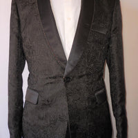 Mens Amazing Black Embossed Fitted Jacket Pewter Chain Lapel TR Premium TRB-734