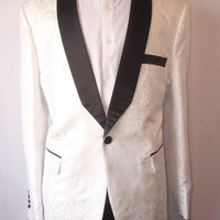 Mens White Embossed Fitted Tuxedo Jacket Black Shawl Lapel TR Premium TRB-725 S