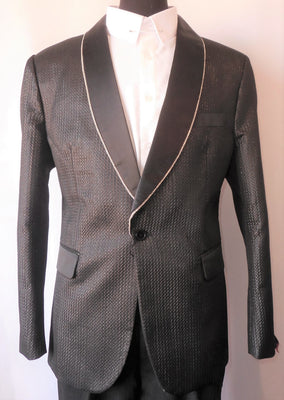 Mens Shiny Black Embossed Jacket Rhinestone Chain Lapel TR Premium TRB-726 S