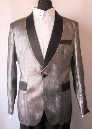 Mens Shiny Platinum Silver Fitted Prom Jacket Bling Lapel TR Premium TRB-726