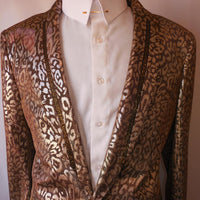 Mens Leopard Gold Mesh Fitted Blazer Jacket Beaded Lapel TR Premium TRB-727 S
