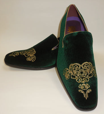 Mens Forest Green Emperor Gold Embroidered Dress Shoes After Midnight 6823