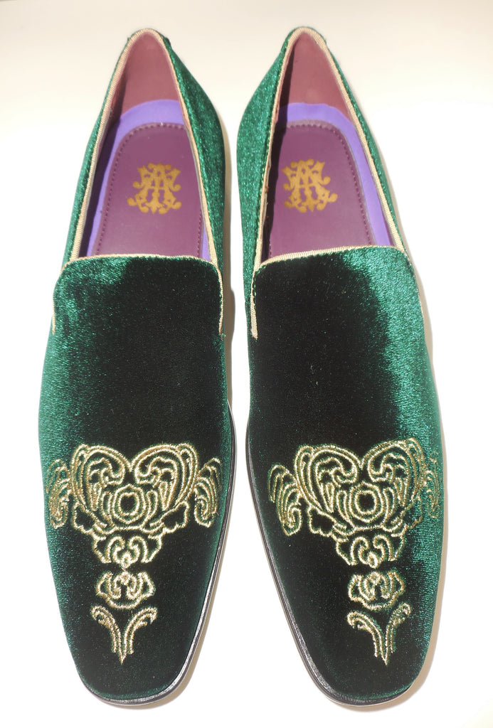 Mens Forest Green Emperor Gold Embroidered Dress Shoes