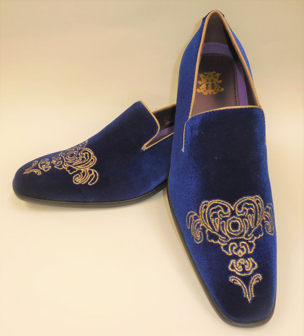 Mens Royal Blue Gold Emperor Embroidered Dress Loafers Shoes After Midnight 6823 S