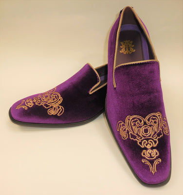 Mens Purple Emperor Gold Embroidered Dress Slip On Shoes After Midnight 6823