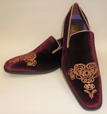 Mens Wine Emperor Gold Embroidery Dress Loafers Shoes After Midnight 6823