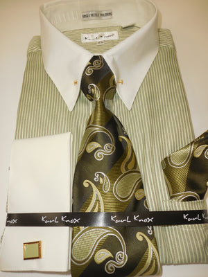 Mens Light Olive Green Stripe Cream Cuff Collar Bar Cuffed Dress Shirt Karl Knox 4415
