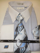 Mens Blue Stripe White Cuff Collar Bar French Cuff Dress Shirt Karl Knox 4415