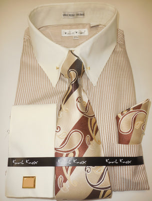 Mens Light Brown Stripe Cream Cuff Collar Bar French Cuff Dress Shirt Karl Knox 4415