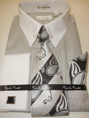 Mens Black Gray Stripe White Cuff Collar Bar French Cuff Dress Shirt Karl Knox 4415