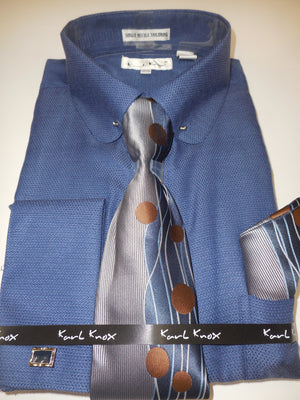 Mens Navy Blue Round Club Collar Bar French Cuff Dress Shirt Karl Knox 4412