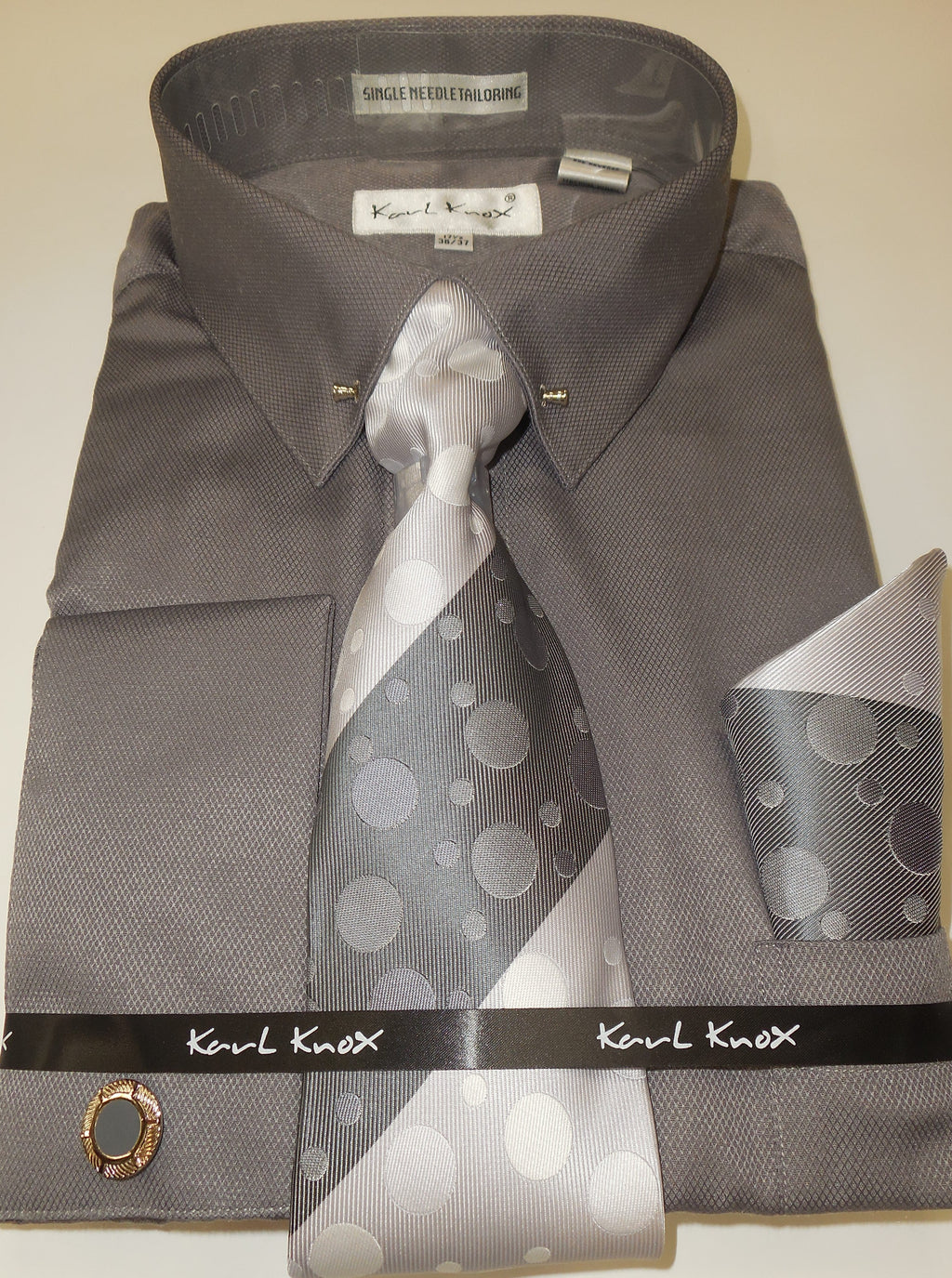 Mens Charcoal Gray Textured Pointed Collar Bar F/C Dress Shirt Karl Knox 4409 S