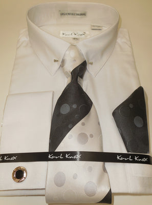 Mens Textured White Pointed Eyelet Collar Bar F/C Dress Shirt Karl Knox 4409