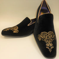 Mens Black Gold Emperor Embroidered Dress Loafers Shoes After Midnight 6823 S