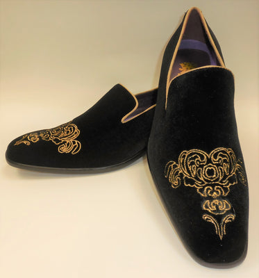 Mens Black Gold Emperor Embroidered Dress Loafers Shoes After Midnight 6823