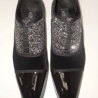 Mens Black Patent Velvet Glitter Detail Formal Dress Shoes After Midnight 6804