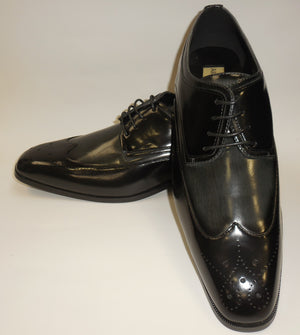 Mens Black Gray Wing Tip Spectator Fashion Dress Shoes Antonio Cerrelli 6809