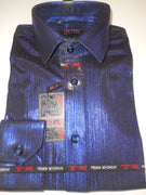 Mens Shiny Metallic Royal Blue Slim Fit Stretchy Clubbing Shirt TR Premium 890