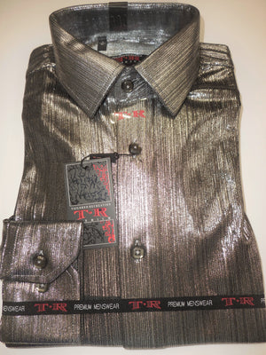Mens Shiny Metallic Silver Stretch Fabric Fitted Clubbing Shirt TR Premium 890