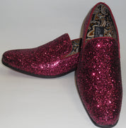 Mens Burgundy Glitter Formal Slip On Dress Loafers After Midnight 6683 S