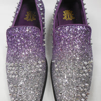 Mens Silver Lavender Fade Glitter Spike Dress Shoes After Midnight 6860 S