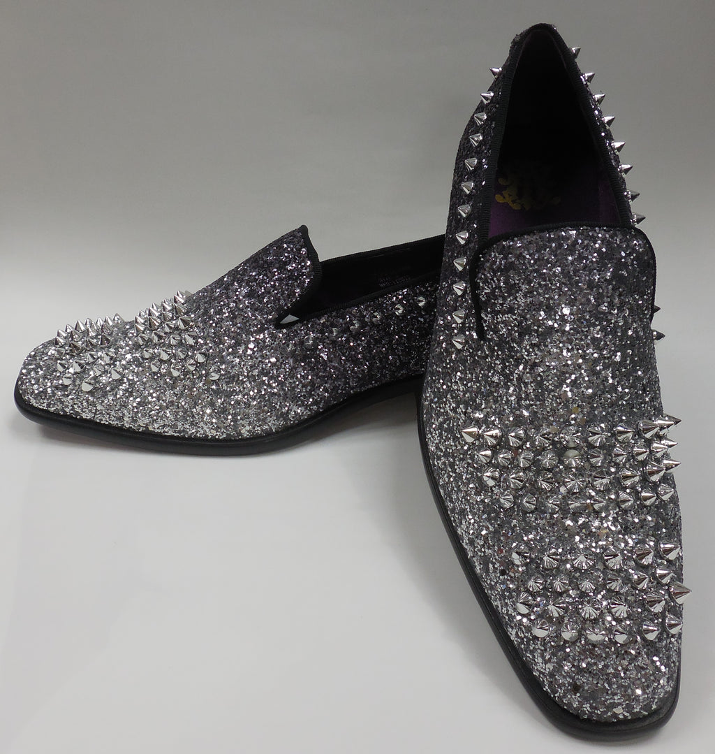 Mens Silver Black Fade Glitter Spike Dress Shoes Loafers After Midnight 6860 S