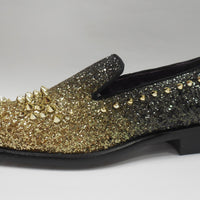 Mens Gold Black Fade Glitter Spike Dress Shoes Loafers After Midnight 6860 S