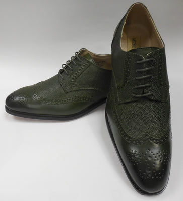 Mens Elegant Olive Green Wingtip Oxford Dress Shoes Antonio Cerrelli 6836 S